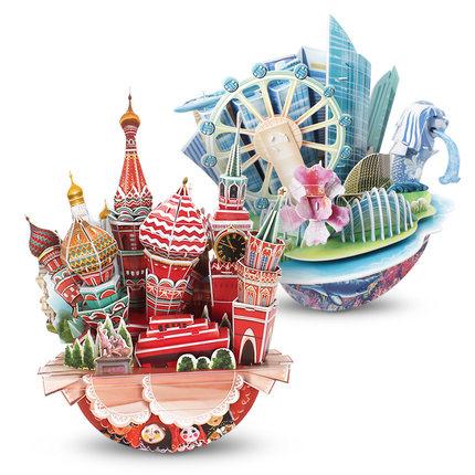 CubicFun  Tranh xếp hình 3D Le cube 3D sáng tạo câu đố ba chiều Nga Mô hình thành phố New York Paris