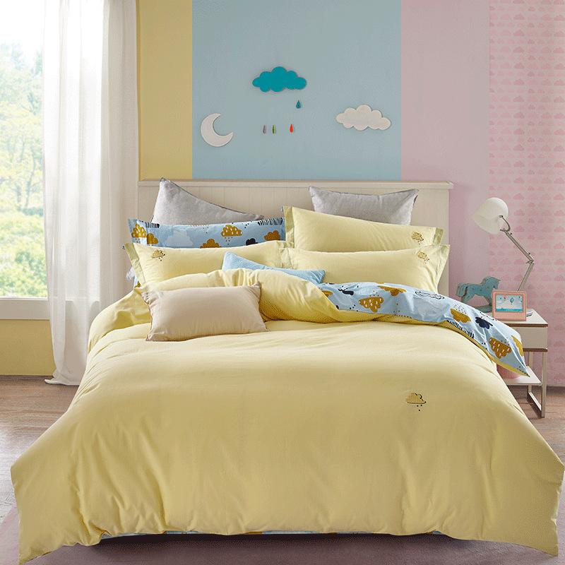 DUOXIAI Bộ drap giường Tôi yêu vẻ đẹp của bộ bông rửa bốn miếng cotton của bộ đồ giường in bông AB p