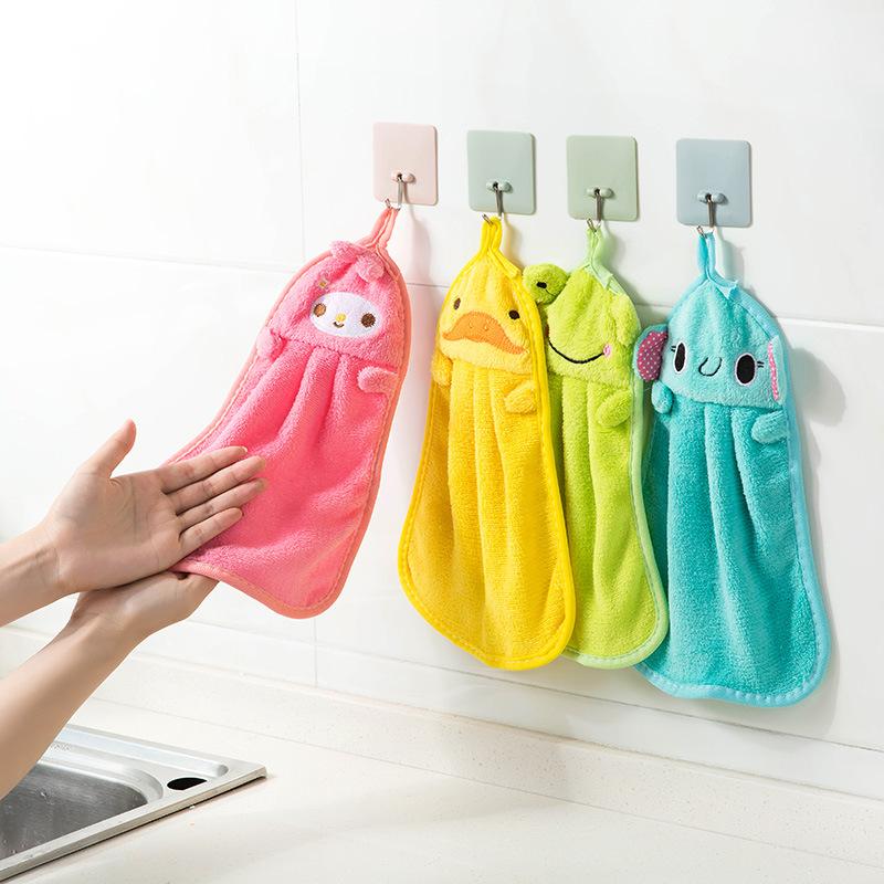 khăn lau tay Animal Trưởng nhung san hô khăn treo dishcloths bếp vải thấm