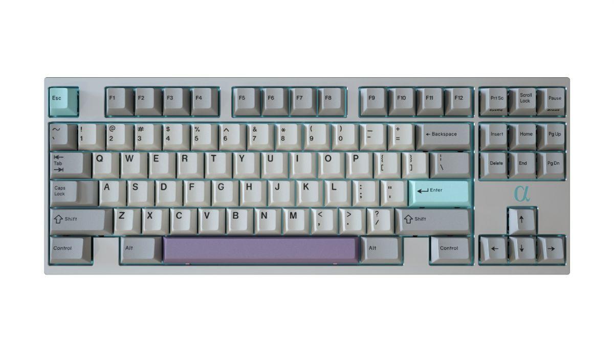Bàn phím cơ im lặng tùy chỉnh keycap màu xám trắng đen