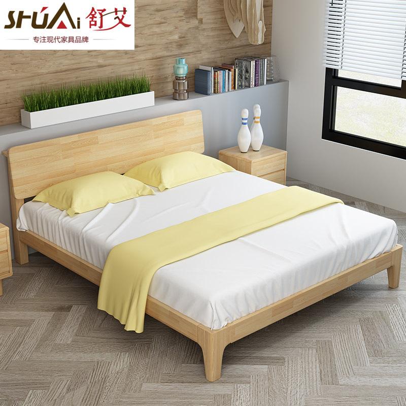 SHUAI giường Bắc Âu tất cả gỗ rắn bán đảo giường hiện đại tối giản phong cách Nhật Bản đồ nội thất 1
