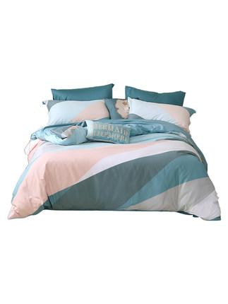 SHUIXINGJIAFANG Bộ drap giường  Mercury Home Dệt Bộ đồ giường cotton bốn mảnh Đơn giản Bắc Âu Venice