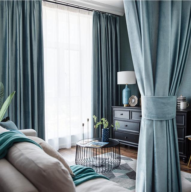rèm cửa sổ Hà Lan nhung Bắc Âu rắn màu đầy đủ rèm che thành phẩm in phòng ngủ đơn giản hiện đại dày