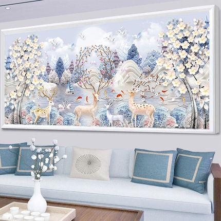 Mei'an Tranh thêu chữ thập  Tranh kim cương 2019 phòng khách mới thêu chữ thập hươu đầy đủ kim cươn