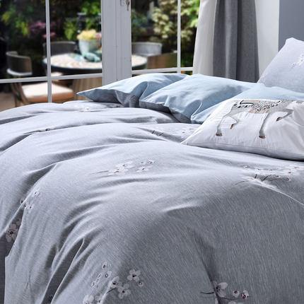 SHUIXINGJIAFANG Bộ drap giường  Bông thủy ngân dệt tại nhà chải hoạt động in bốn mảnh mùa đông dày b
