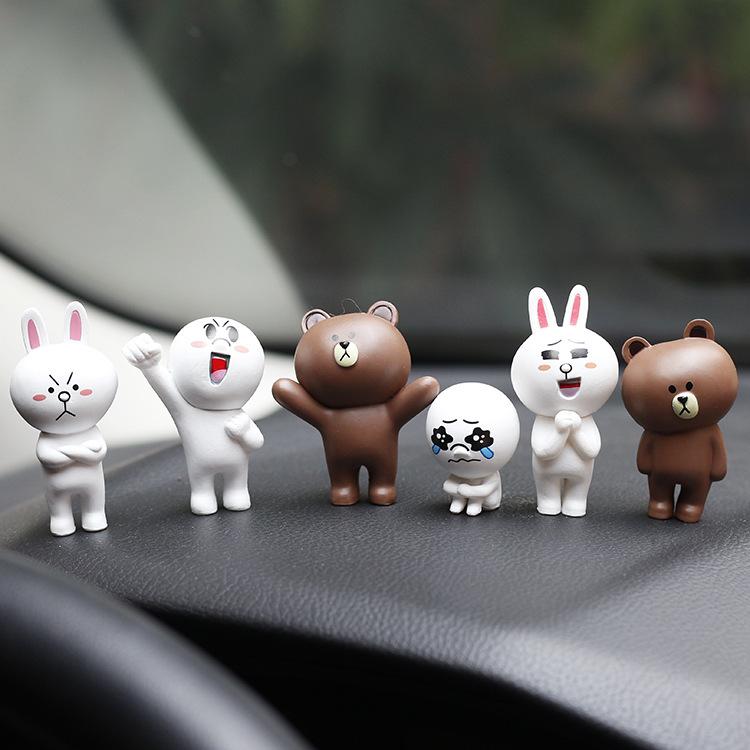 XIANGYU Thị trường đồ trang trí xe hơi Phim hoạt hình gấu thỏ bánh xe trang trí xe trang trí 6 PVC c