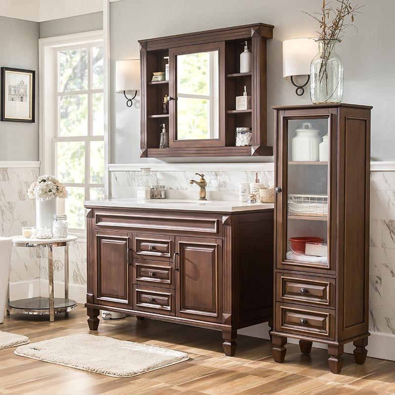 Bộ tủ phòng tắm vanity kết hợp tủ gương và tủ lưu trữ kế bên .