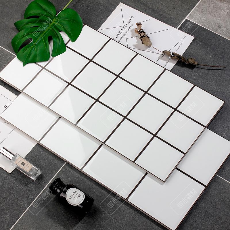 HENGZHI Gạch men sứ Gạch ốp lát nhà bếp và phòng tắm đơn giản và hiện đại 300x600 ốp lưới trắng chốn