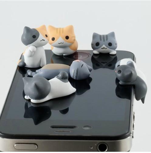 YUELU Nút cắm chống bụi Phiên bản tiếng Hàn của mèo điện thoại di động bụi cắm 3,5mm Android nằm mèo
