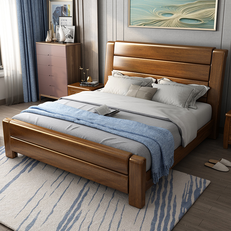 ZHUOMU giường Tất cả giường gỗ rắn óc chó nội thất phòng ngủ đơn 1,5 công chúa 1,8 mét đầu giường ca