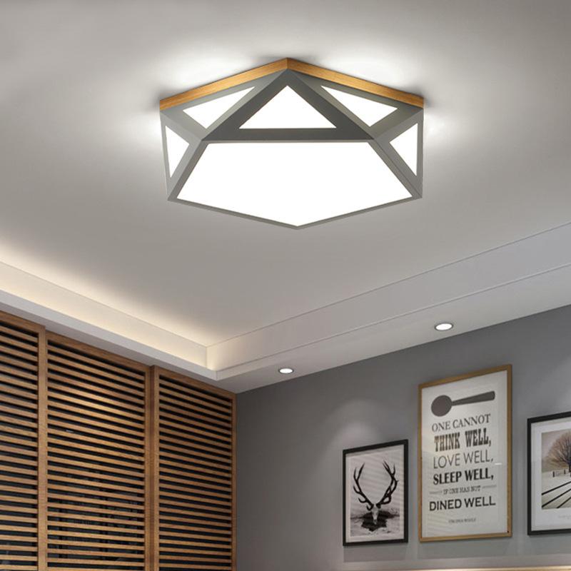 ZIBIN đèn ốp trần Bắc Âu led macaron đèn phòng ngủ nhà đơn giản hiện đại hình học đèn trần sắt sáng