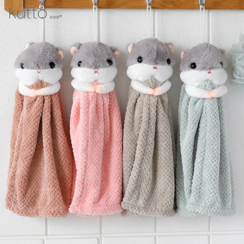 KUTTO khăn lau tay Thỏ Gutian nhung nhung hoạt hình có thể treo khăn tay dễ thương Hamster thấm nhà