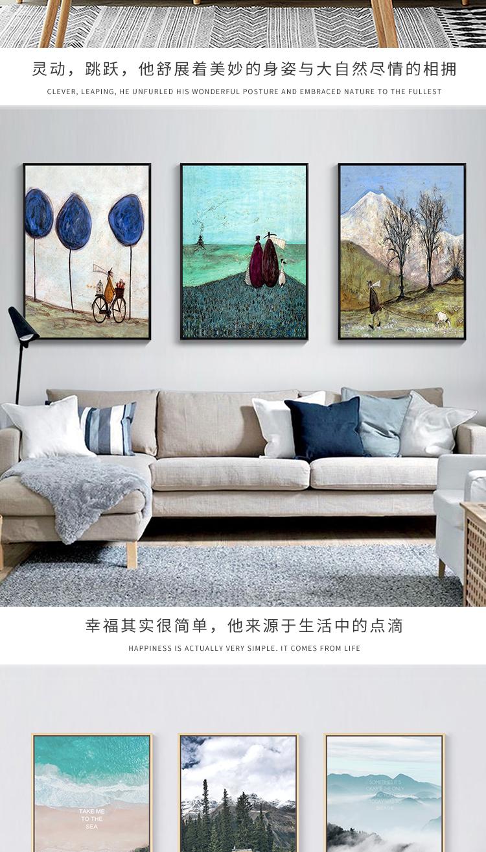 Tranh trang trí Phòng khách Bắc Âu trang trí hiên hiên hiên nhà văn phòng đơn giản tranh ghế sofa nề