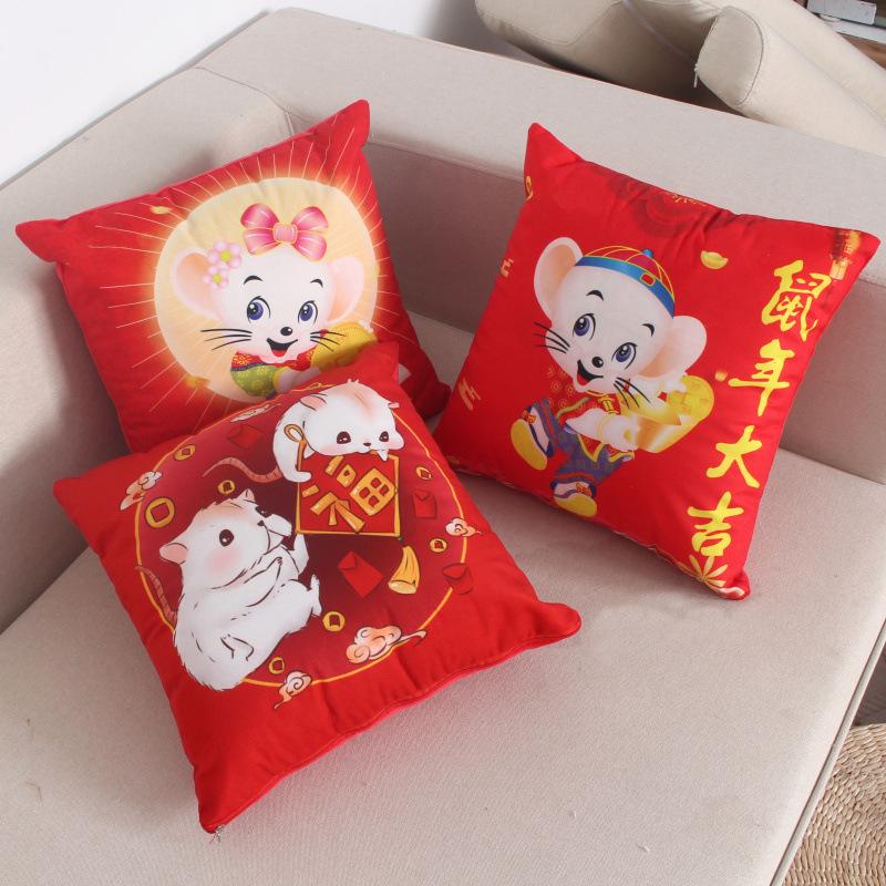 YILEWEI gối ôm Nhà máy trực tiếp chuột năm đỏ gối quà tặng tùy chỉnh sang trọng gối in logo gối để b