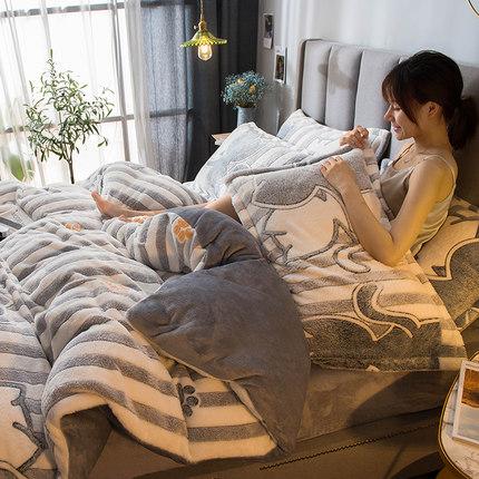 NANJIREN Bộ drap giường  Bốn mảnh dày san hô lông cừu hai mặt flannel quilt tấm bìa mùa đông ký túc