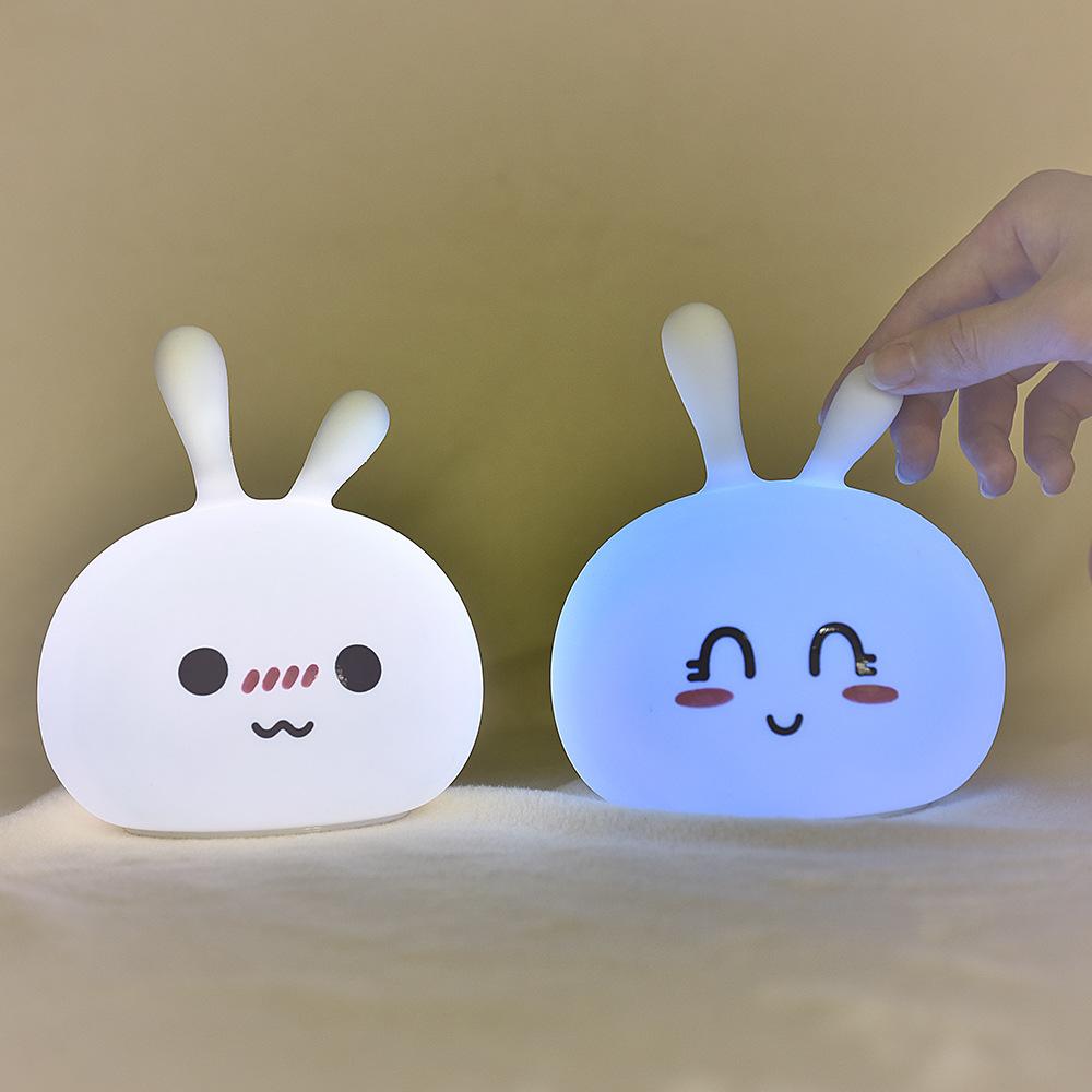 ZIYOUXING Đèn tường Sáng tạo mini beanie thỏ silicone sạc đèn led đầu giường đêm thay đổi màu sắc si