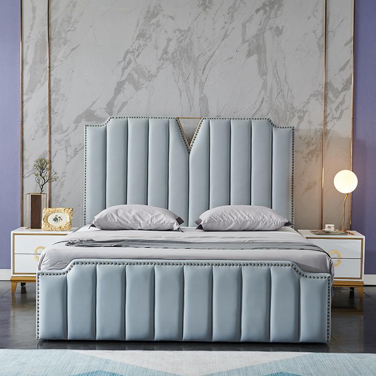 SXZS Giường ngủ sang trọng, nhẹ nhàng Giường ngủ bằng da nghệ thuật Mỹ Giường gỗ nguyên khối 1,5m 1,