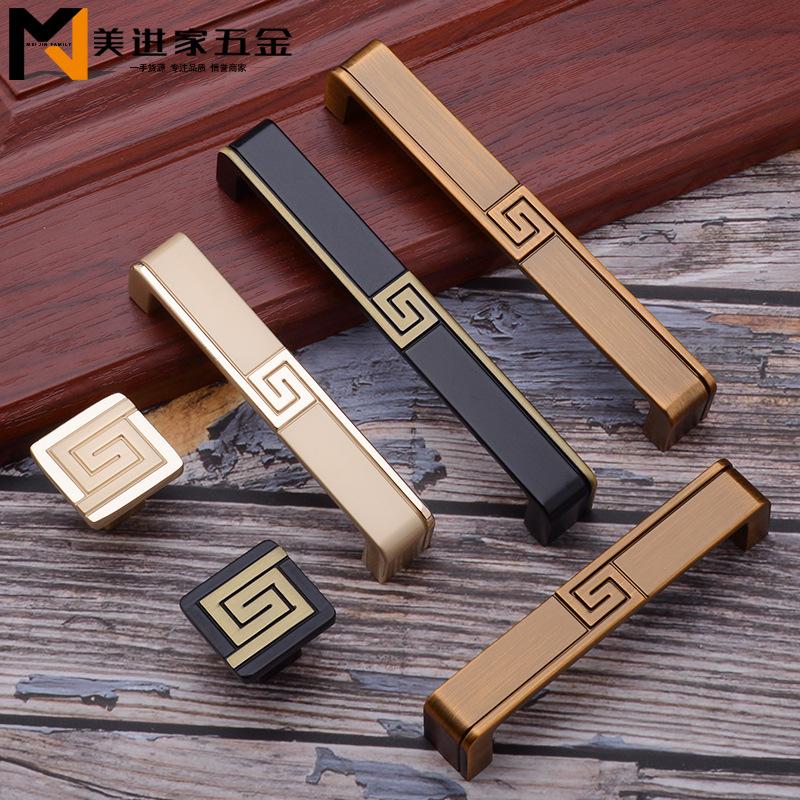MEIJINJIA Thị trường ngũ kim Tay nắm cửa kiểu Trung Quốc mới cao cấp ánh sáng sang trọng tủ vàng tủ