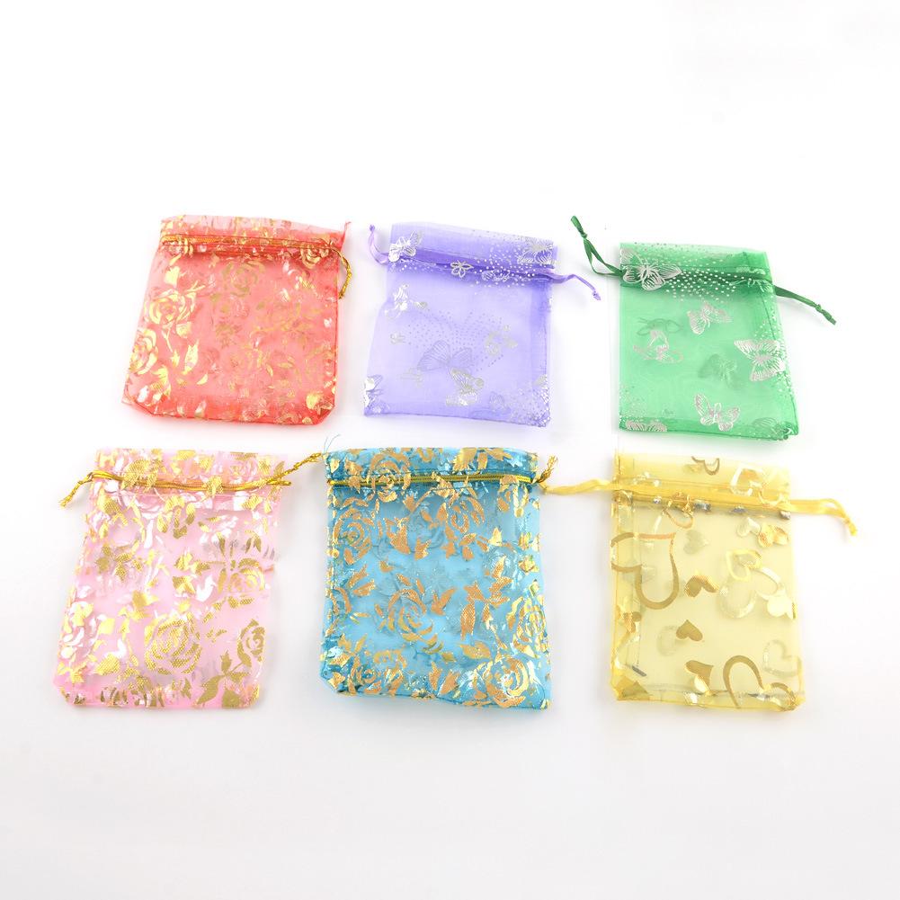 Túi đựng trang sức Xuyên biên giới mới 7 * 9cm in túi organza sợi tự làm đồ trang sức thủ công màu b