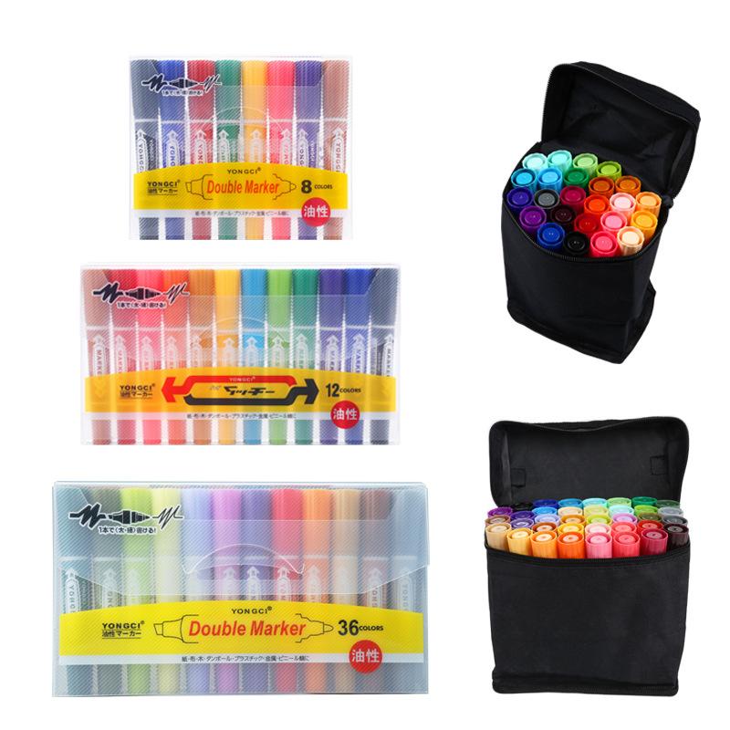 TIANDEFA Bút dạ quang Bút lớn có thể thêm mực bút mực màu bút đôi đầu bút đánh dấu đặt bút áp phích