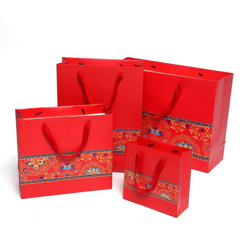 GUANGCHENG Túi giấy Trung Quốc Năm mới Túi quà tặng Phong cách Trung Quốc Túi quà tặng Túi bán buôn
