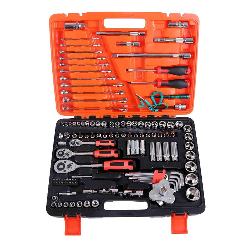 AOTUO Dụng cụ rửa xe Chrome vanadi thép 121 mảnh sửa chữa ổ cắm kết hợp công cụ ổ cắm cờ lê công cụ