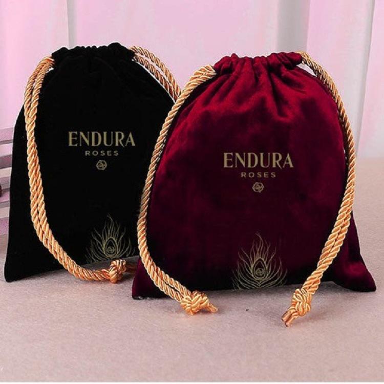 QIANGMEI Túi đựng trang sức Flannel túi cung cấp đồ trang sức quà tặng bó túi có thể in LOGO tai ngh