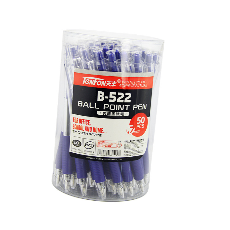 TENFON Bút bi Side Jump Quảng cáo Bút bi đơn giản Trong suốt 522 Bút nhựa Bút Tùy chỉnh Bút nhiều mà