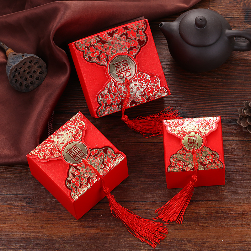 JIXUN hộp quà tiệc cưới Wedding sỉ Wedding Wedding Box Creative Wedding Candy Bag Wedding Wedding Tr