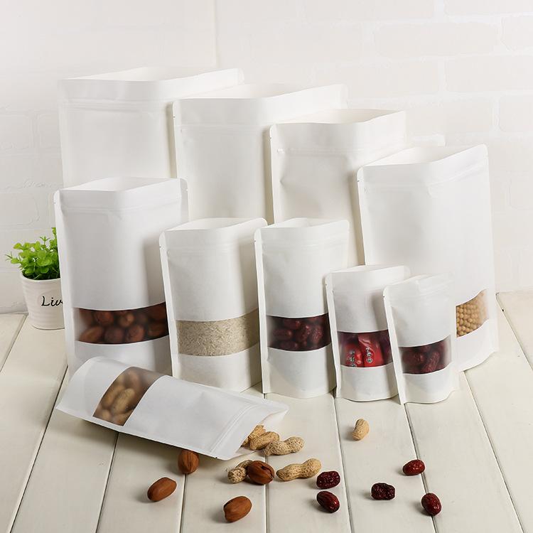 Túi đứng Bán buôn túi giấy da bò trắng dày 17 * 24 âm dương tự hỗ trợ túi thực phẩm bao bì túi ziplo