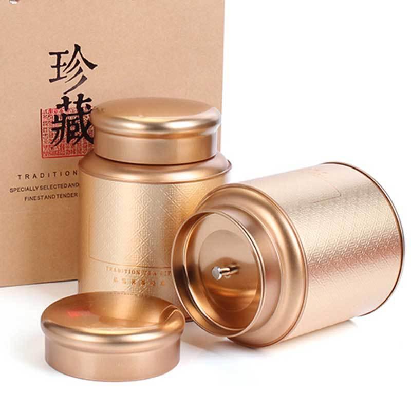 ZHIBANG Hũ kim loại Thiếc hộp trà có thể sắt hộp kim loại một pound tải nhỏ bao bì màu xanh lá cây m