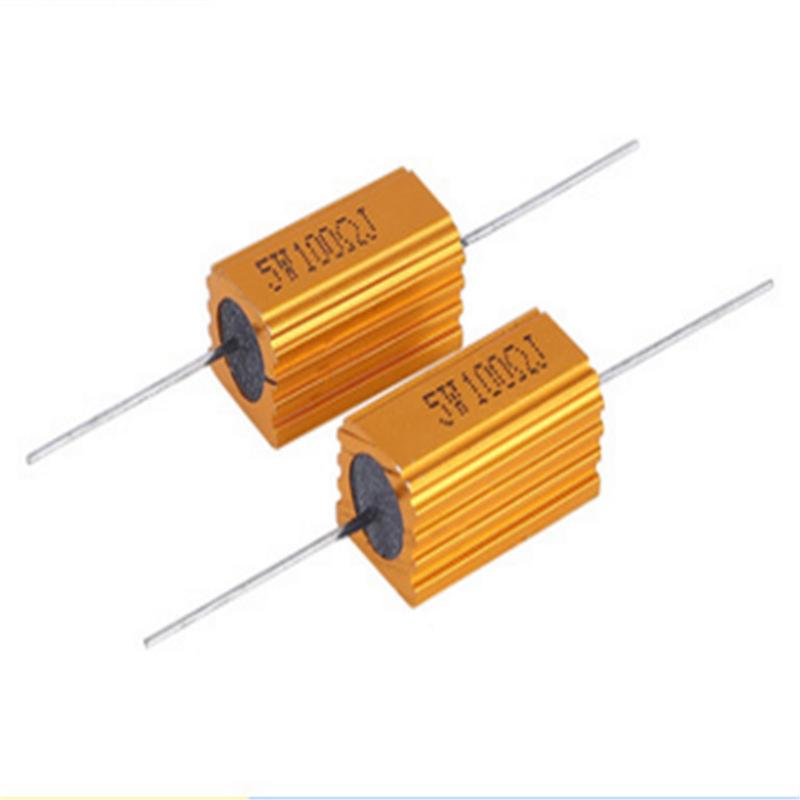 HUANGJIAWEI Điện trở kháng kim loại Vỏ nhôm vàng RX24 kháng 5W10W25W50W100W150W200W
