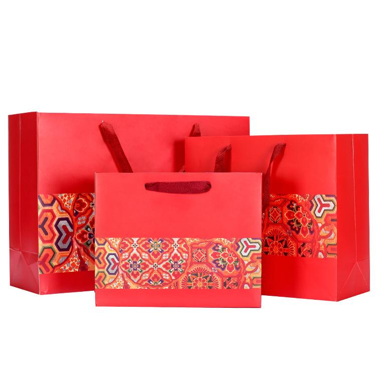 LIANGDIAN Túi giấy Sáng tạo phong cách Trung Quốc túi giấy màu đỏ năm mới túi tote túi quà tặng túi