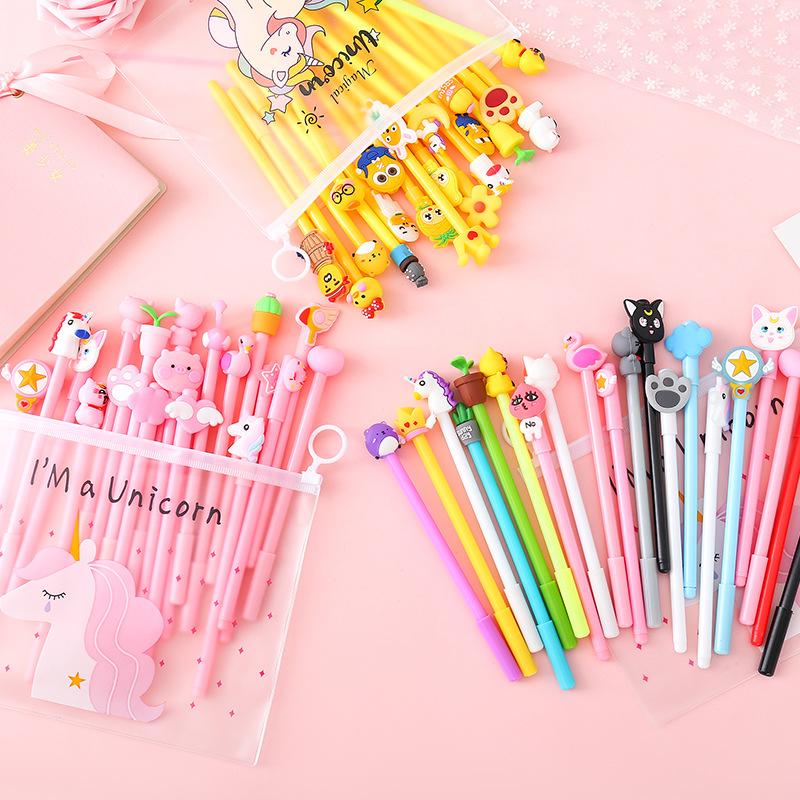 GANGSHENG Bút nước Cô gái dễ thương màu hồng gel bút thiết lập phim hoạt hình sinh viên bút ký kết h