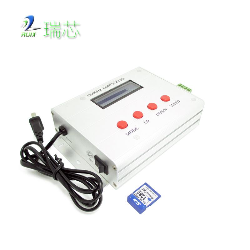 RUIXIN Thiết bị điều khiển đèn Nhà máy trực tiếp quay số thẻ SD màn hình kỹ thuật số DMX512 Bộ điều