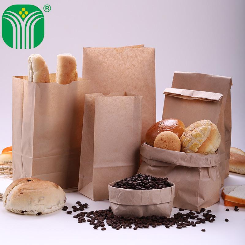 QIANHE Thị trường bao bì khác / bao bì vải / bao bì giấy Túi giấy kraft vàng và trắng tùy chỉnh bánh