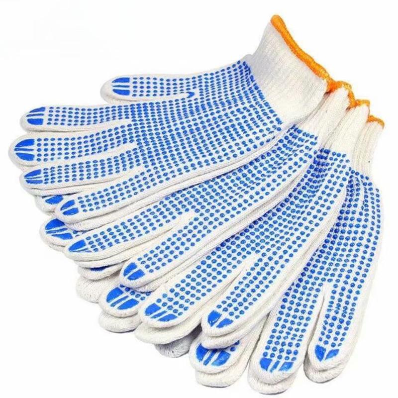 Thị trường bảo hộ lao động Nhà sản xuất bông điểm găng tay nhựa keo sợi bông Găng tay chống trượt Gă