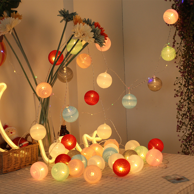 YINGLONG Đèn trang trì Thái bóng bông chuỗi ánh sáng led đèn lồng cô gái trái tim lãng mạn phòng ngủ