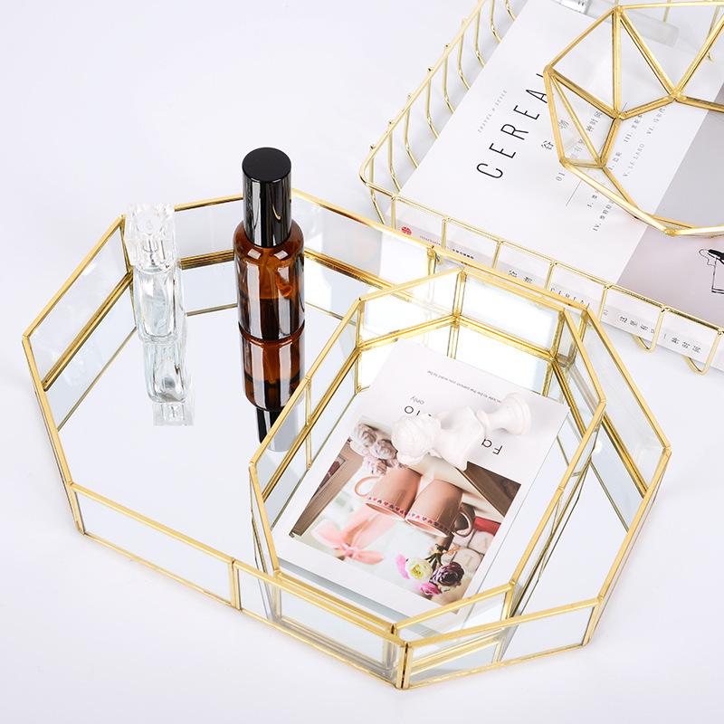 YOTOEDC Mâm nhựa / Pallet nhựa Bắc Âu ins khay lưu trữ thủy tinh khay vàng trang sức đơn giản mỹ phẩ