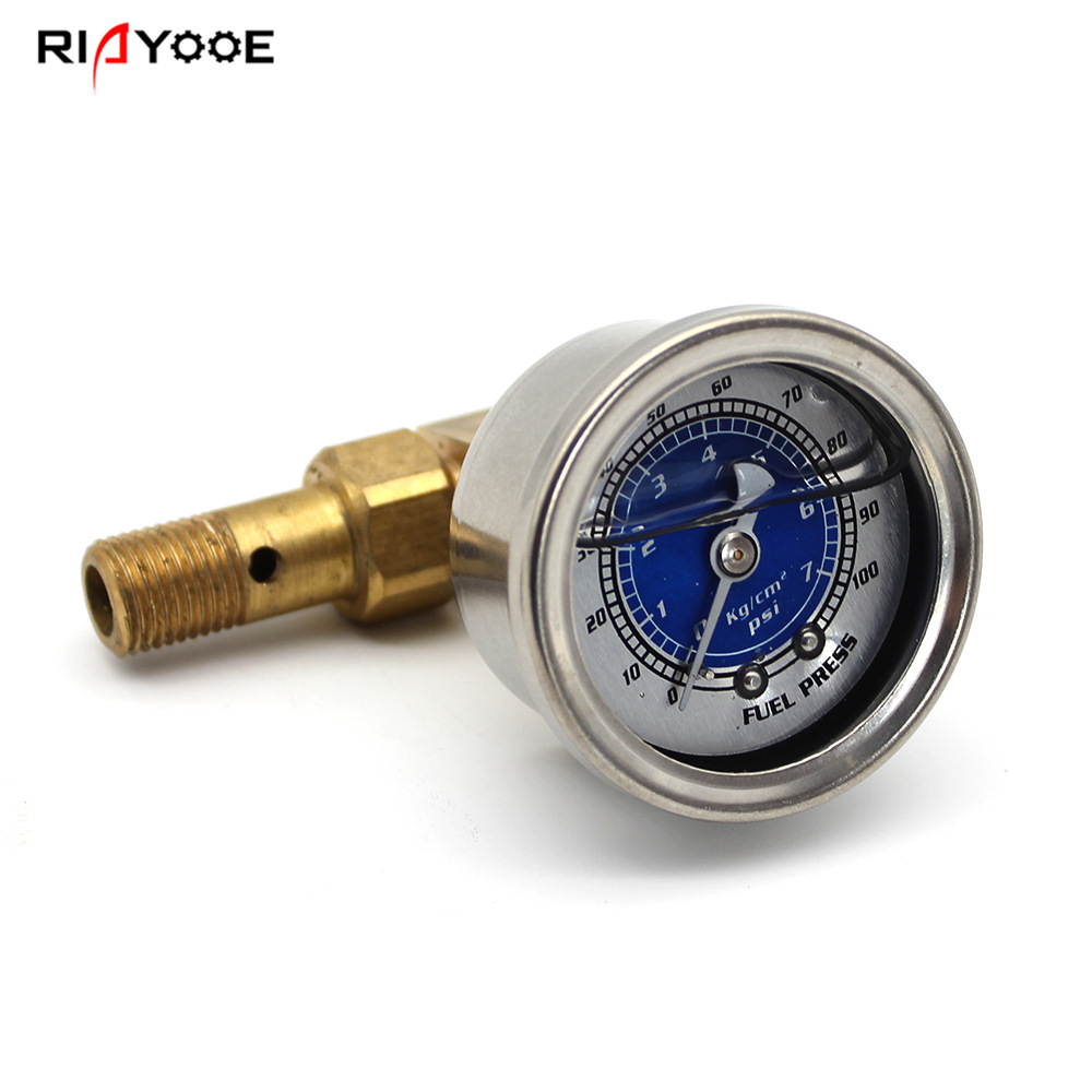 RIAYOOE Đồng hồ đo áp suất Xe sửa đổi động cơ dụng cụ chống sốc áp suất dầu áp suất PSI chính xác số