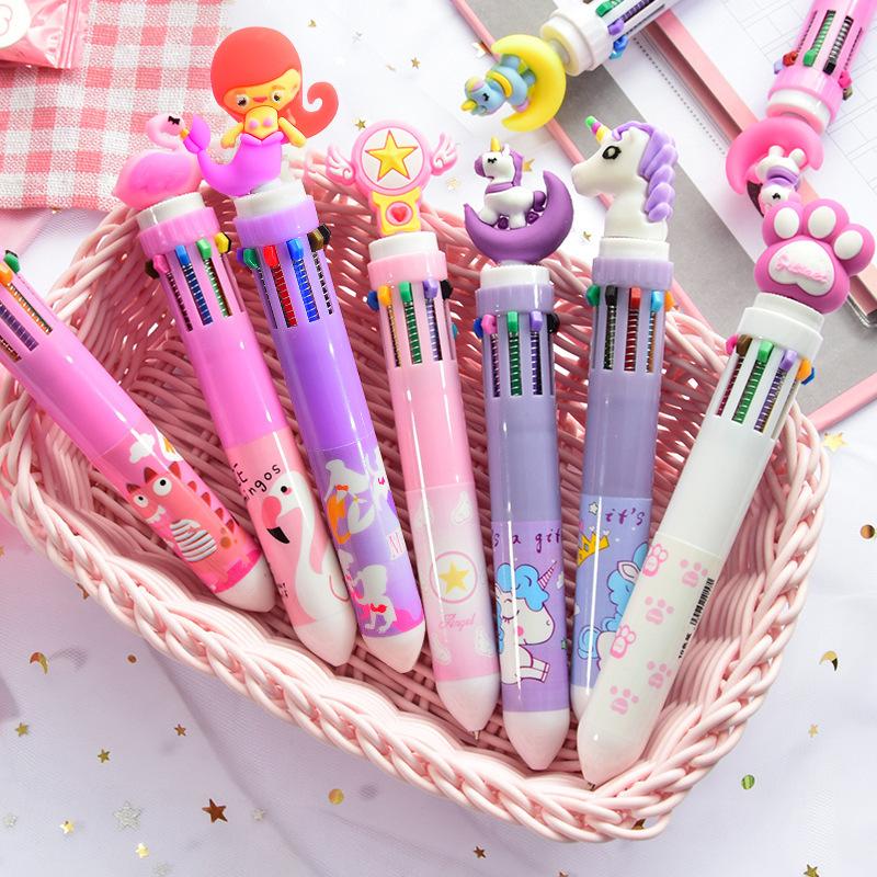 LUHAO Bút bi Dễ thương bút bi mười màu cô gái hoạt hình trái tim nhiều màu nhấn bút bi sinh viên đa