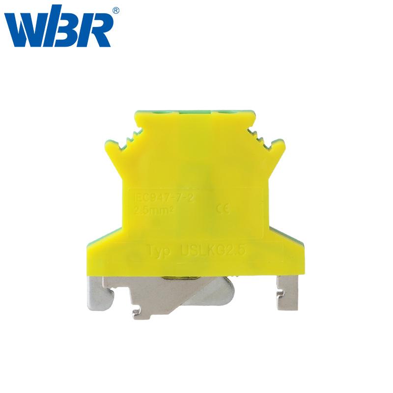 WBR Cầu đấu dây Domino Thiết bị đầu cuối mặt đất hai màu USLKG2.5 màu vàng xanh JUT1-2.5B / PE Khối