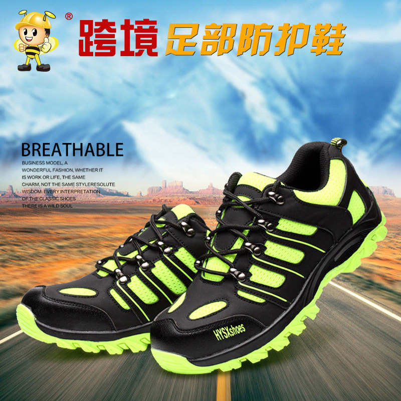 Giày chống va đập an toàn thoáng khí màu xanh lá cây .