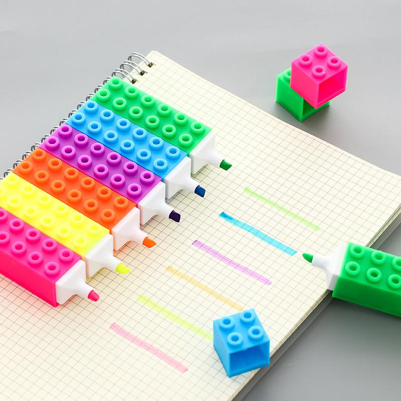 Bút dạ quang Xây dựng khối highl sáng tạo trẻ em câu đố câu đố khối hình đánh dấu công suất lớn bút