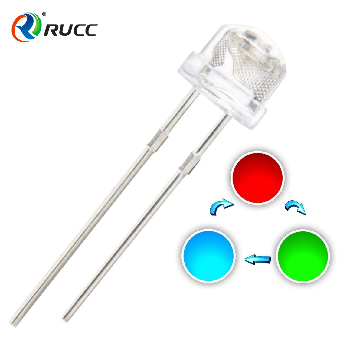 YUERUICAI Điốt bán dẫn Đèn LED phát sáng hạt LED nhà sản xuất F5MM đầu phẳng nhấp nháy nhanh LED dài