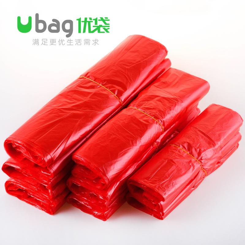 UBAG Túi xốp 2 quai Túi nhựa màu đỏ mua sắm túi lớn bán buôn lớn vừa nhỏ cầm tay trái cây và rau quả