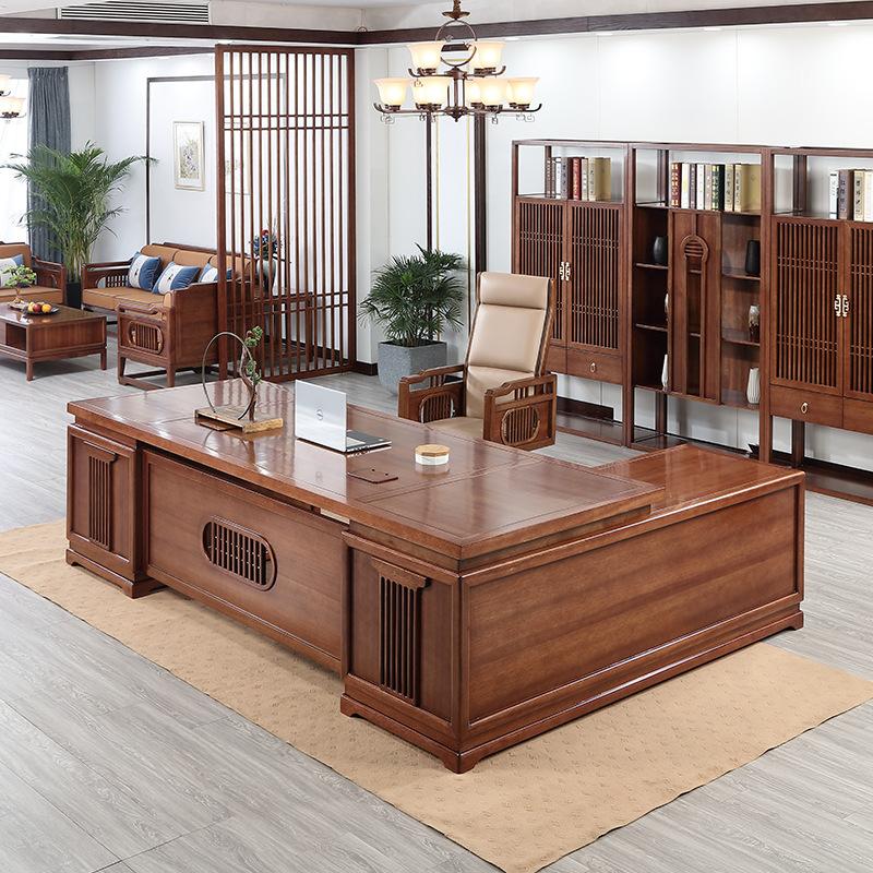 Thị trường nội thất văn phòng Mới Trung Quốc phong cách rắn bàn gỗ ông chủ bàn nhà máy bán hàng trực