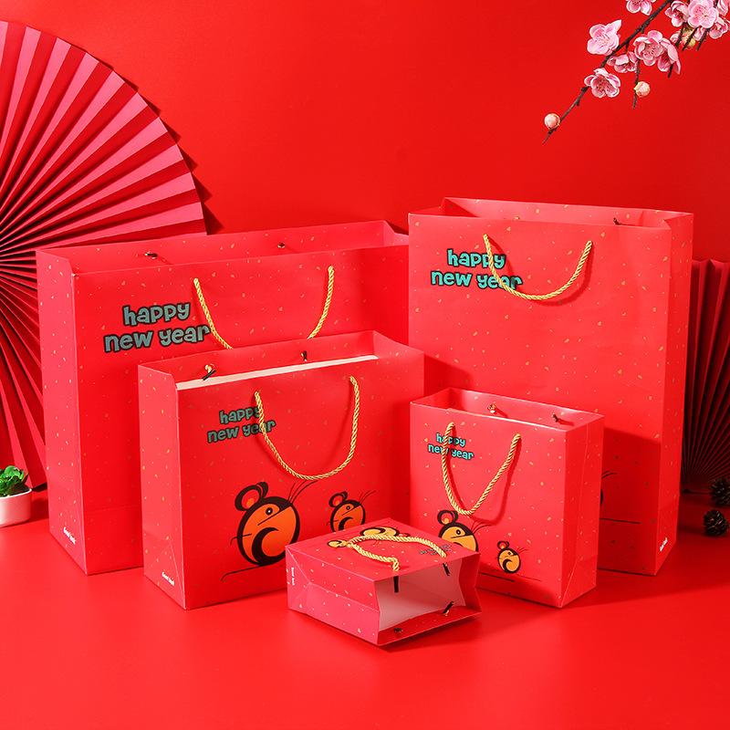 RUIDISI Túi giấy đựng quà Redis Năm mới Rat Túi quà tặng tùy chỉnh Điểm đỏ Lucky Rat Túi quà tặng Tú