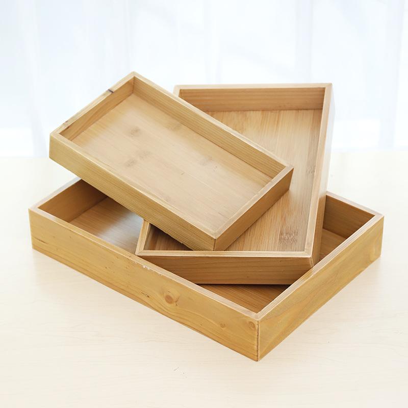 TGXQB Mâm nhựa / Pallet nhựa Nhà sáng tạo retro tre đĩa gỗ rắn gỗ phòng khách khay trà phẳng khách s