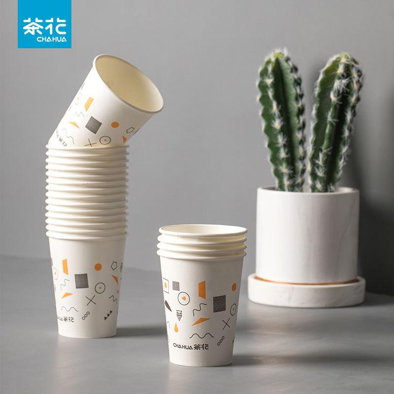 CHAHUA Ly giấy 100 ly giấy hoa trà, ly giấy dùng một lần, bảo vệ môi trường và sức khỏe ly giấy trán